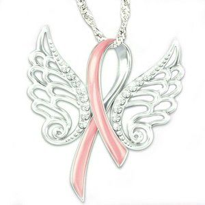 Breast Cancer Pink Ribbon wings necklace, New!